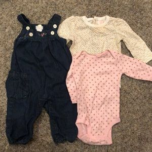 6 month girls overalls with matching 6 mo onsie